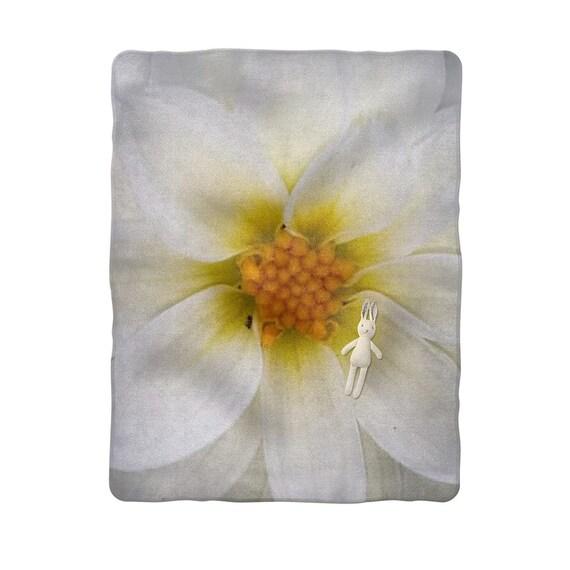 White dahlia flower Sublimation Baby Blanket