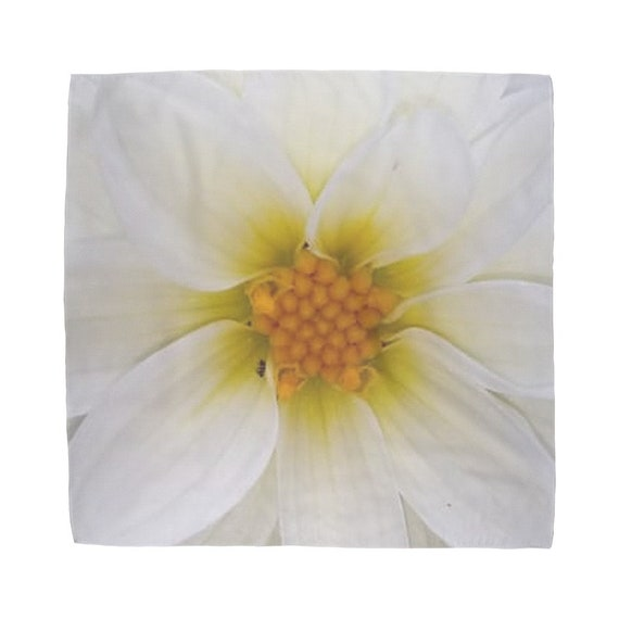 White dahlia flower Sublimation Bandana
