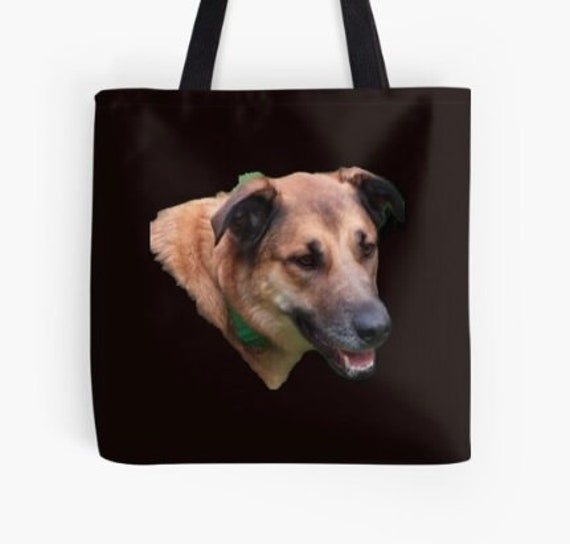 Tote Bag Belgian Malinois Dog Head design double sided lined