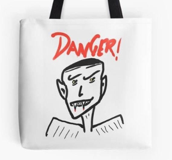 Tote Bag Danger Vampire design double sided lined