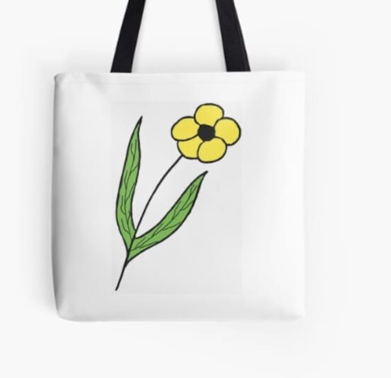 Tote Bag Yellow Abstract Flower design double sided lined