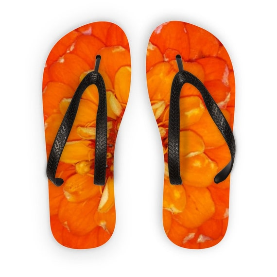 Orange Zinnia Flower Kids Flip Flops