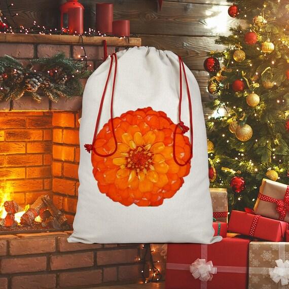 Orange Zinnia Flower Sublimation Linen Drawstring Sack
