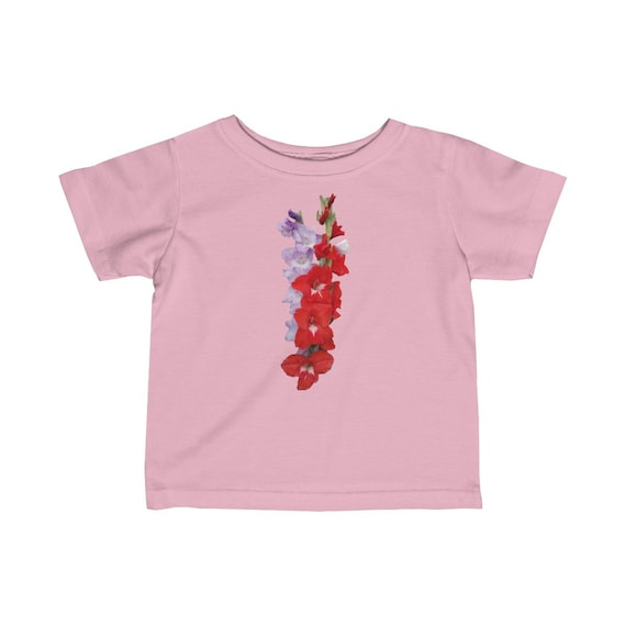 Red and Blue Gladiolus Flower Infant Fine Jersey Tee