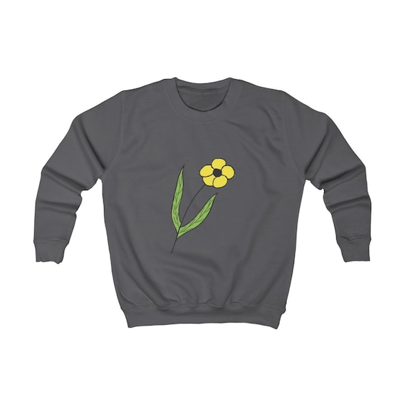 Yellow Flower Design Kids Sweatshirt
