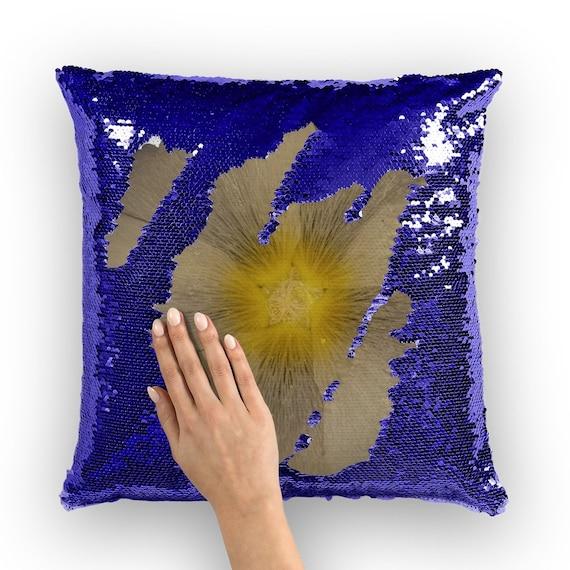 Hollyhock Flower Head Flip Flop Design Sequin Cushion Cover