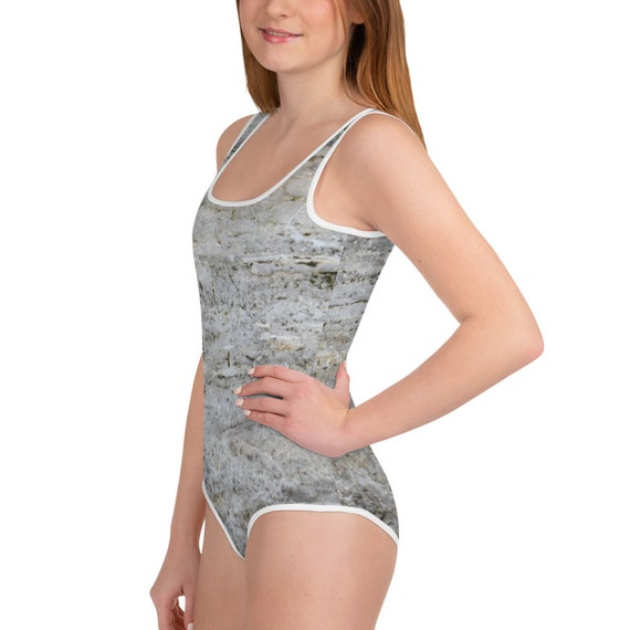Grey Stone All-Over Print Youth Swimsuit