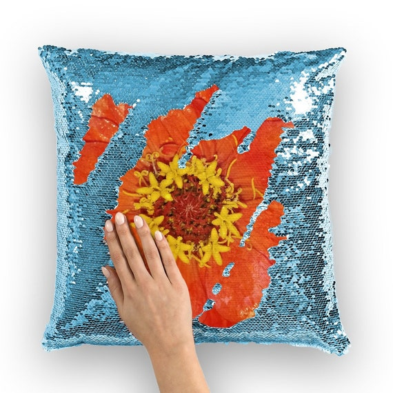 Red Zinnia Sequin Cushion Cover