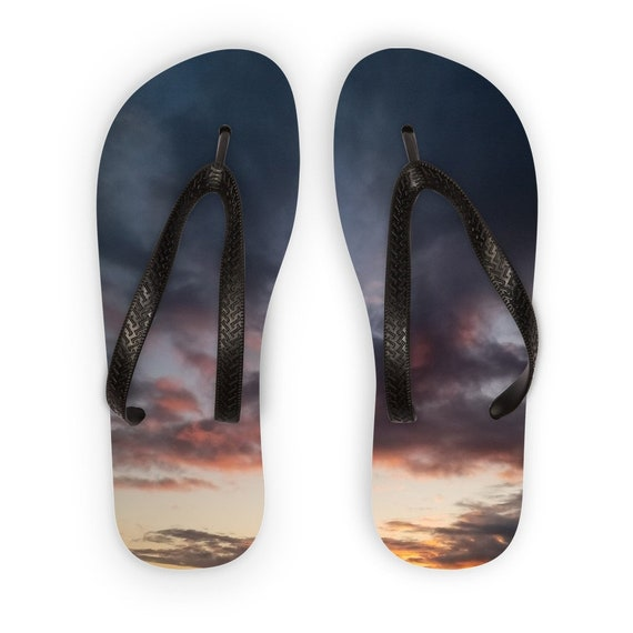 Sunset over the Coast Kids Flip Flops