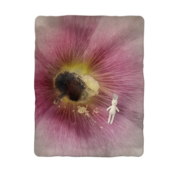 Hollyhock Flower with Bee Sublimation Baby Blanket