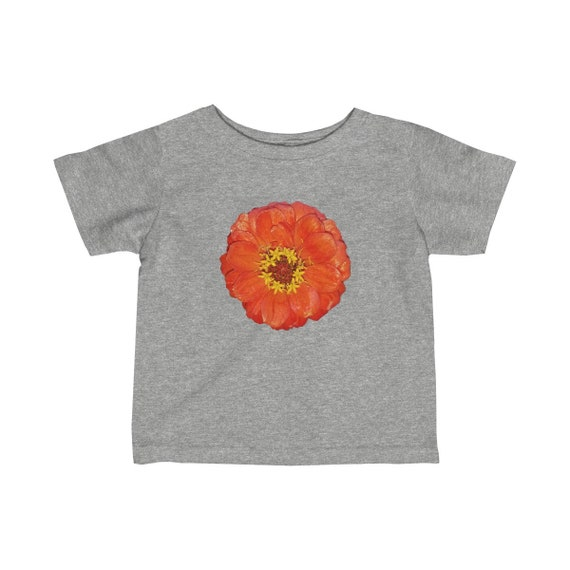 Bright Red Zinnia Flower Infant Fine Jersey Tee