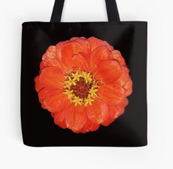 Tote Bag Orange Flower Head design double sided lined