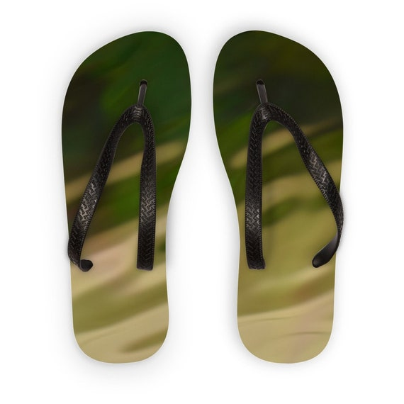 Green Camo Design Kids Flip Flops
