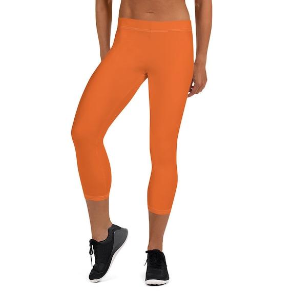 Orange Capri Adult Leggings