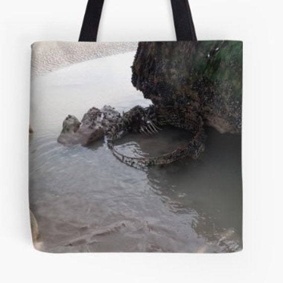 Tote Bag Rock Pool and Fishing Pot design double sided lined