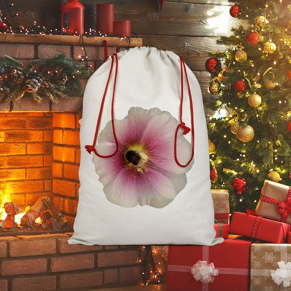 Hollyhock Flower with Bee Sublimation Linen Drawstring Sack