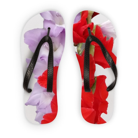 Red and Blue Gladiolus Flowers Kids Flip Flops
