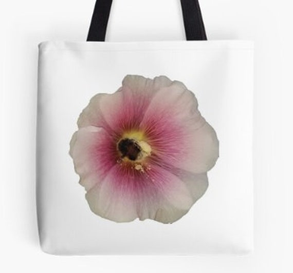 Tote Bag Hollyhock with Bumble Bee Flower design double sided lined
