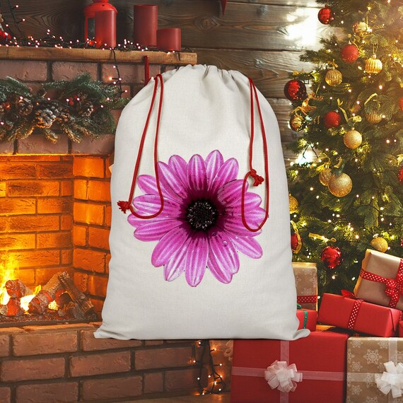 Pink Dahlia Flower Design Sublimation Linen Drawstring Sack
