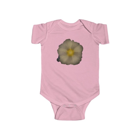Abstract Hollyhock Flower Head Design Infant Fine Jersey Bodysuit