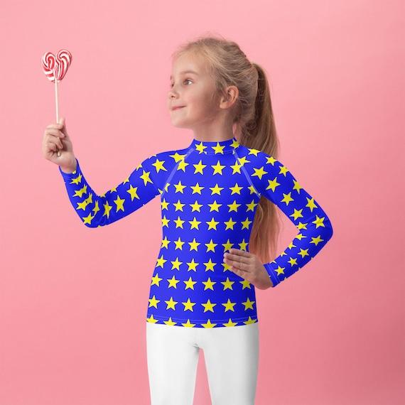 Blue and Yellow Stars Design Kids Rash Guard Top