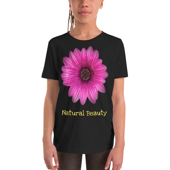 Natural Beauty Pink Flower Youth Short Sleeve T-Shirt