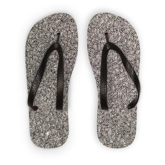 Black Wool Texture Image Kids Flip Flops