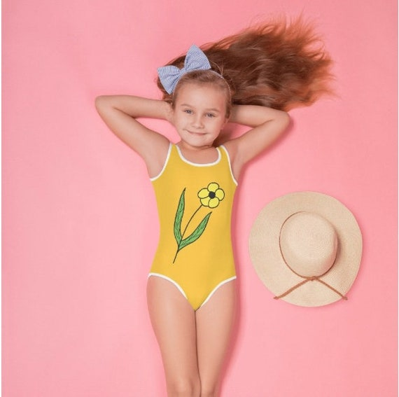 Yellow Flower Design All-Over Print Kids Swimsuit