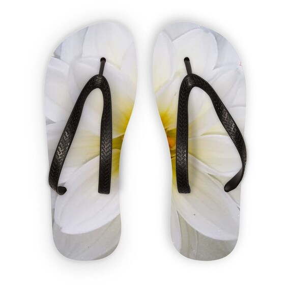 White dahlia flower Kids Flip Flops