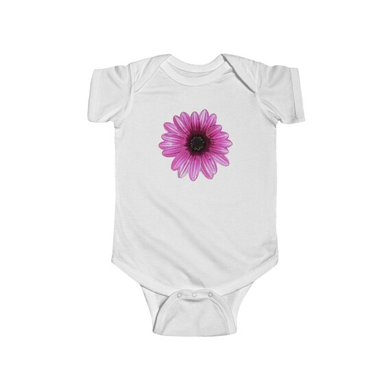 Pink Dahlia Design Infant Fine Jersey Bodysuit