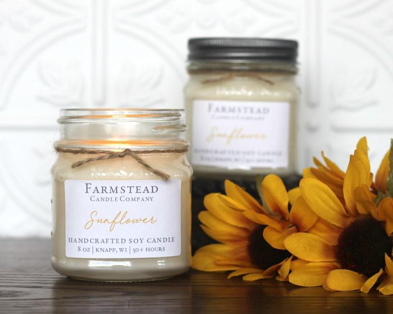Farmstead Candle Perfect Gift Handpoured Vintage 8 oz Soy Mason Jar Soy Candle Farmhouse Decor Sunflower Farmhouse Candle