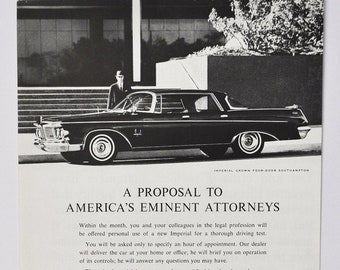 Large Car Ad 1963 Chrysler Imperial Crown motor company classic old photo advertisement parts print brochure dealer LeBaron southampton