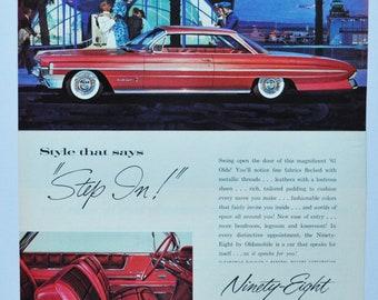 Large Car Ad 1957 Oldsmobile GM general motors company classic old photo advertisement parts print brochure dealer dealership 88 98 olds
