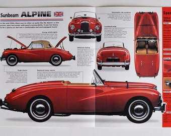 Spec Sheet Sunbeam Alpine (1953-1955) (car photo stat info specs brochure parts ad old print sport Rootes Group Coventry england auto rally)
