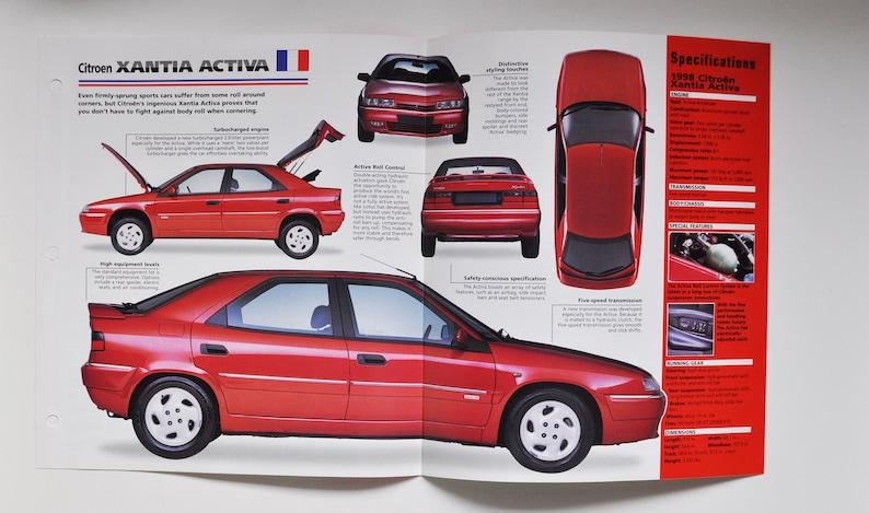 Spec Sheet Citroen Xantia Activa car photo stat info specs brochure parts ad old vintage classic europe sports auto france 1995-PRESENT