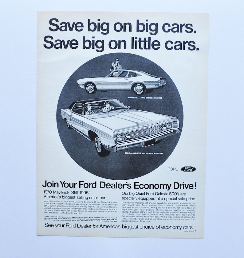 Large Car Ad 1970 Ford Sales Event motor company classic old photo ...
