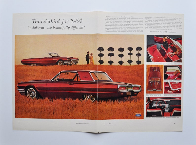 2-Page Car Ad 1964 Ford Thunderbird motor company classic old photo print advertisement poster brochure dealer dealership lifeguard design