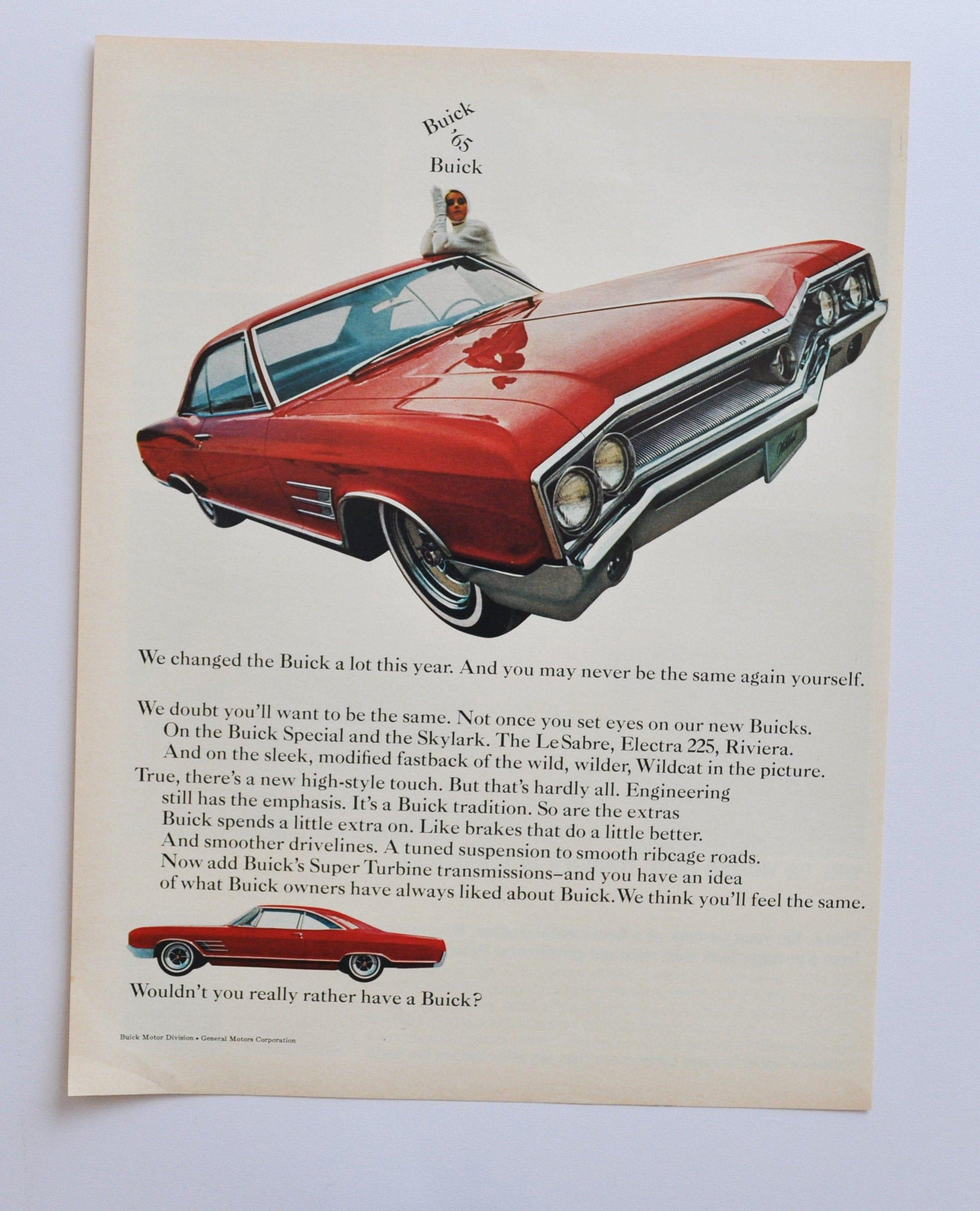 Car Ad 1965 Buick Riviera motor company classic old photo advertisement brochure retro dealer dealership classic american auto automobile