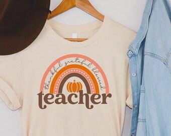 Blessed Teacher Fall Shirt   Thanksgiving Tee   Gift for Teacher Appreciation   Back to School   I Love Autumn   Retro Lettering   70's Vibe
