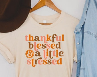 Thankful Blessed and A Little Stressed Shirt   Thanksgiving Shirt for Her   Retro Tee   I Love Fall   70's Vibes   Hello Fall   Halloween