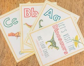 Homeschool Printables   Dinosaur ABC Flash Cards   Montessori Cards   Preschool Learning   Educational Toys   Jurassic Park Wall Art