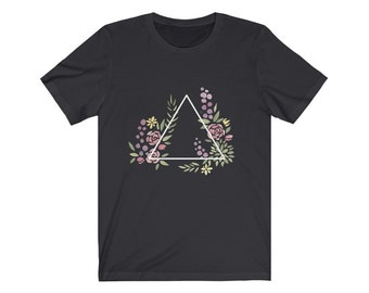 Unisex D4 Geometric Botanical Jersey Short Sleeve Tee for nerds, and dice goblins