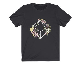 Unisex D10 Geometric Botanical Jersey Short Sleeve Tee for nerds, and dice goblins