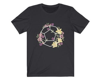 Unisex D12 Geometric Botanicals Jersey Short Sleeve Tee for nerds, and dice goblins