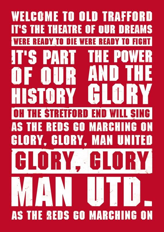 Manchester United Football Soccer Song Lyrics Anthem Poster Etsy