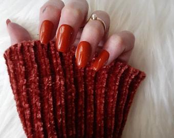 Burnt Orange Short Coffin Press On Nails Etsy