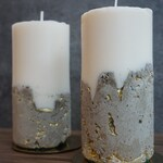 Handmade Concrete Soy Wax Candle with Gold Detail- Natural with Free Coaster