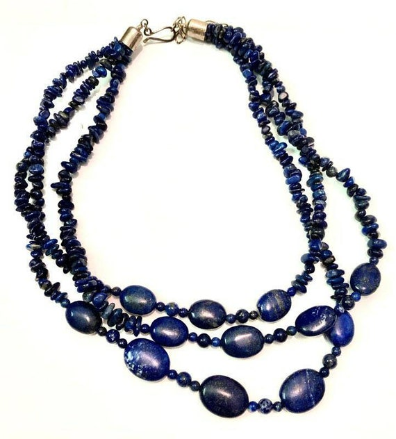 Vintage Lapis Lazuli Necklace // Handmade Necklace
