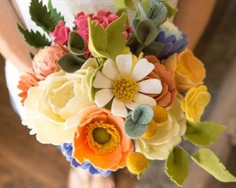 Felt Flower Bouquet, Felt Flowers, Wedding Bouquet, Gift, Felt Flower Stem,  Bouquet, Floral Arrangement, Birthday Gift, Bud Vase
