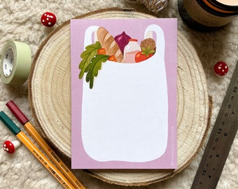 Shopping List Pad ~ A6 Notepad ~ Meal Planning / Grocery List ~ Organisational Stationery + Gift